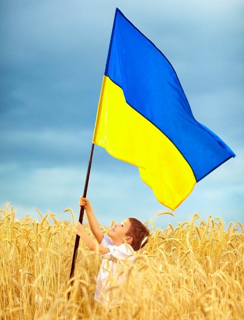 Boy Holding Ukrainian Flag